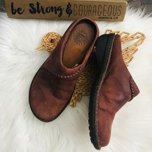 Ugg Brown Leather Slip On Clogs Sz 7